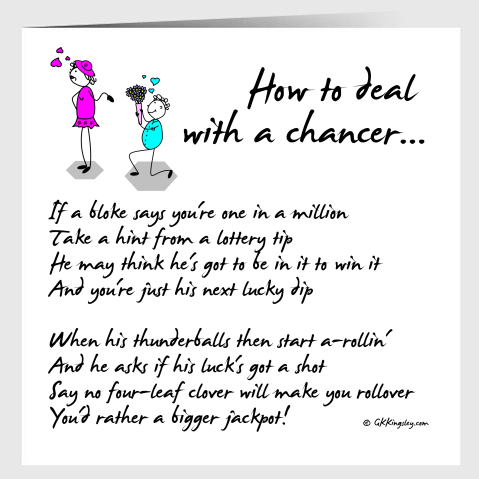 How to deal with a chancer... Greetings Card by GK Kingsley